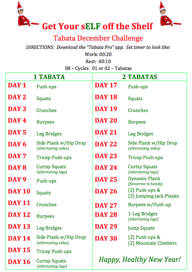 Get Your sELF off the Shelf - Tabata December Challenge